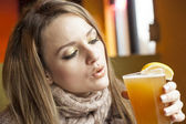 Young Woman with Beautiful Blue Eyes Drinking Hefeweizen Beer — Photo