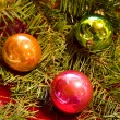 Christmas Ornaments with Douglas Fir Branch — Stock Photo