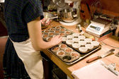 Making Muffins in the Organic Bakery — Stock Photo