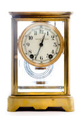 Antique Glass Clock on White Background — Stock Photo