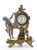 Antique Clock with Cherubs on White Background — Stock Photo