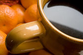 Tan Coffee Cup on Orange Background — Foto de Stock