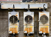 Three Electric Meters — Stock Photo