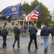 VFW Color Guard Marching on a Foggy Day — Stock Photo #19895253