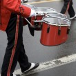 Drummer in a Marching Band on Foggy Day - Stock Photo