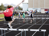 Girls' 100 Meter Hurdles — Stock Photo
