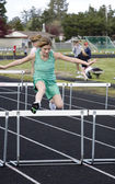 Girl Hurdling — Stock Photo
