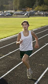 Cross Country Runner About to Win the Race — Stock Photo