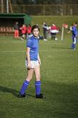 Girls Soccer Player Awaits the Kick Off — ストック写真
