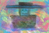 Pastel: Man with Sombrero — Stock Photo