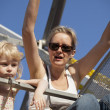 Mother and Daughter on a Ride at the Fair — Stock Photo