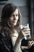 Young Woman Drinking a Pint Glass of Ice Water — Stock Photo