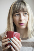 Portrait of Beautiful Young Woman with Drinking Coffee — Stock Photo