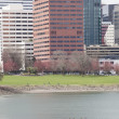Willamette River with Downtown Portland in the Background — Photo
