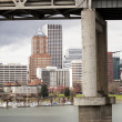 Marquam Bridge with Downtown Portland in the Background — Stock Photo