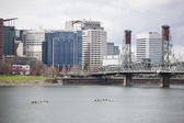 Willamette River with Downtown Portland in the Background — Stock Photo