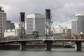 Hawthorne Bridge with Downtown Portland in the Background — Stock Photo