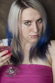 Beautiful Young Woman with Blue Hair and Pink Dress — Stock Photo