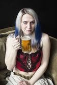 Goth Girl with Blue Hair Has One Too Many Beers — Stock Photo