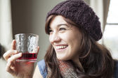 Beautiful Young Woman Drinking Glass of Cranberry Juice — Stock Photo