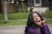 Horrified Young African American Woman in Purple Top — Foto Stock