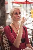 Beautiful Young Woman with Glass of White Wine — Stock Photo