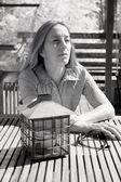 Fotografía infrarroja de mujer de edad media — Foto de Stock