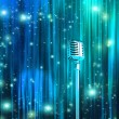 Stock Photo: Classic Microphone with Colorful Curtains