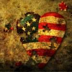 Amerikan puzzle kalp — Stok fotoğraf