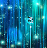 Classic Microphone with Colorful Curtains — Stock Photo