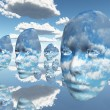 Stock Photo: Repeating faces of clouds