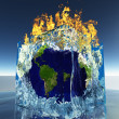 Earth inside ice cube being consumed by fire — Stock Photo
