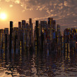 City on water sunset or sunrise City on water sunset or sunrise — Stock Photo