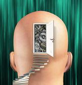 Doorway opens to gears in mind — Stock Photo