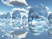 Repeating faces of clouds — Stock Photo