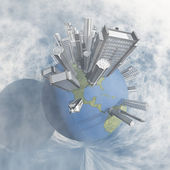 City Earth with Clouds — Stock Photo