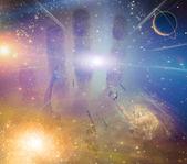 Schweben in richtung licht unter sternen schweben in richtung licht unter sternen — Stockfoto