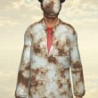 Man in white corroded suit with obscured face - Stock Photo