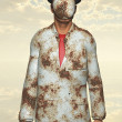 Stok fotoğraf: Min white corroded suit with obscured face