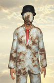 Człowiek w białym garniturze skorodowane z zasłonięte oblicze — Zdjęcie stockowe