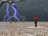 Man takes in storm protected under umbrella — Stock Photo