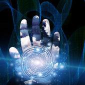Hand med virvlande form — Stockfoto