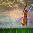 Cello in dream like landscape - Stock Photo