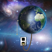 Earth with night and day with pull switch — Stock Photo