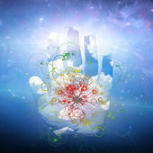 Open hand and particle design — Stock Photo