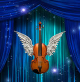 Violin with wings — Stock Photo