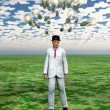 Cloud of bulbs hover over mans head with puzzle piece sky — 图库照片