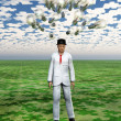 Cloud of bulbs hover over mans head with puzzle piece sky — Stockfoto