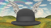 Winged Hat in surreal landscape — Stock Photo