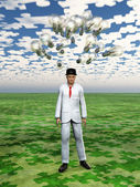 Cloud of bulbs hover over mans head with puzzle piece sky — Stok fotoğraf